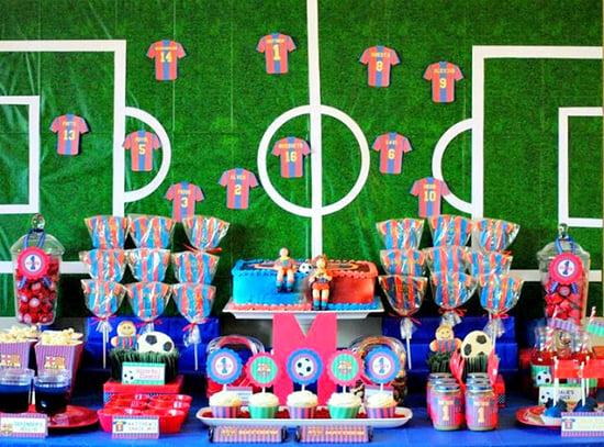 רעיונות ליום הולדת כדורגל - עיצוב שולחן ברצלונה