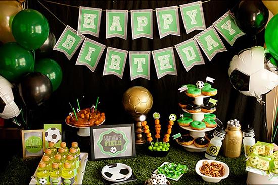 רעיונות ליום הולדת כדורגל - עיצוב שולחן