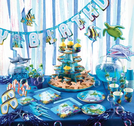 רעיונות ליום הולדת בנושא ים - עיצוב שולחן הכחול הגדול
