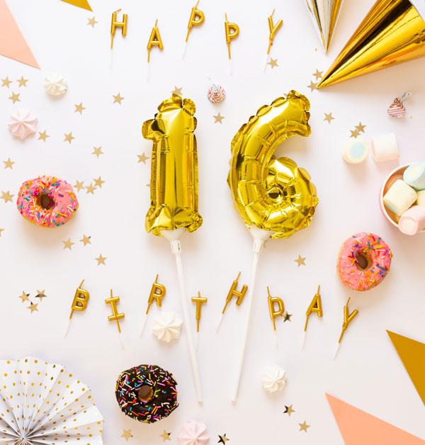 קישוטים ליום הולדת 16 המתוק Sweet 16