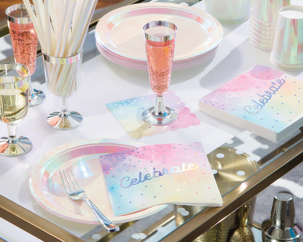 שולחן קוקטייל מסיבת פסטל ססגונית