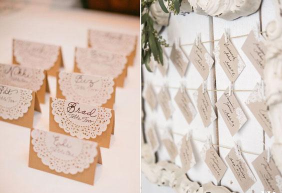 עיצוב חתונה וינטאג'ית - כרטיסי הושבה