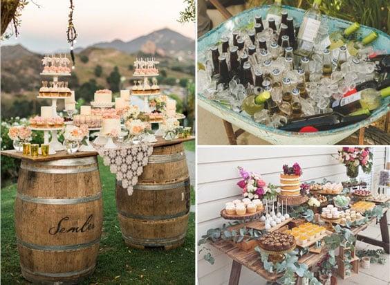 עיצוב חתונה וינטאג'ית - מזון ומשקאות