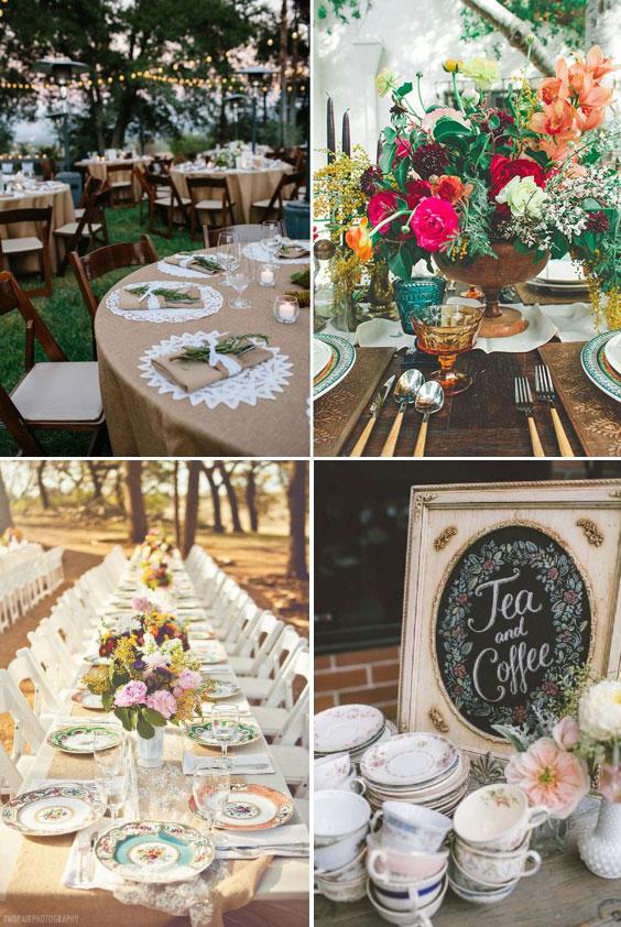 עיצוב חתונה וינטאג'ית - עיצוב שולחן