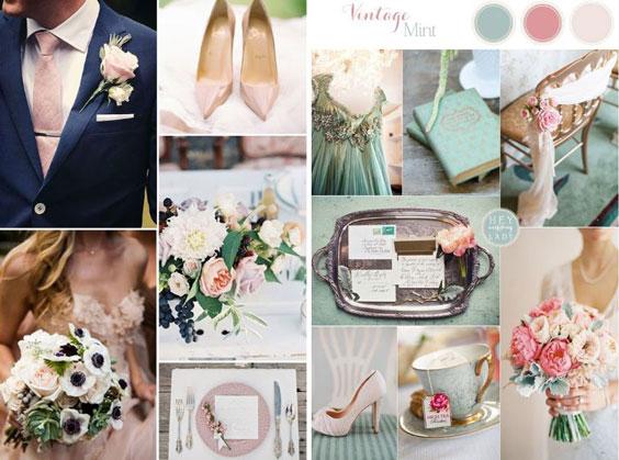 עיצוב חתונה וינטאג'ית - פלטת צבעים
