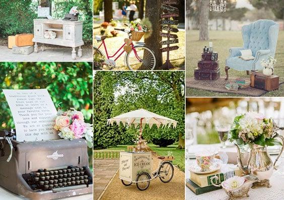 עיצוב חתונה וינטאג'ית - קישוטים