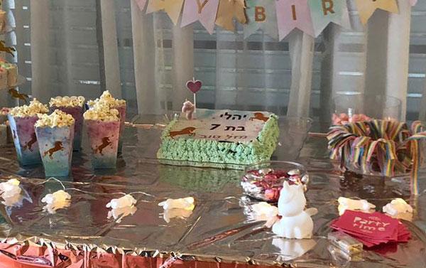 עוגת יום הולדת מסיבת חד קרן