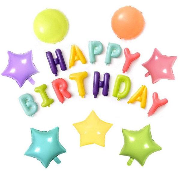 קישוטי מסיבה בצבעי מקרון - סט בלוני Happy Birthday בצבעי מקרון