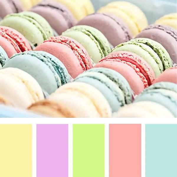 קישוטי מסיבה בצבעי מקרון - פלטת צבעים