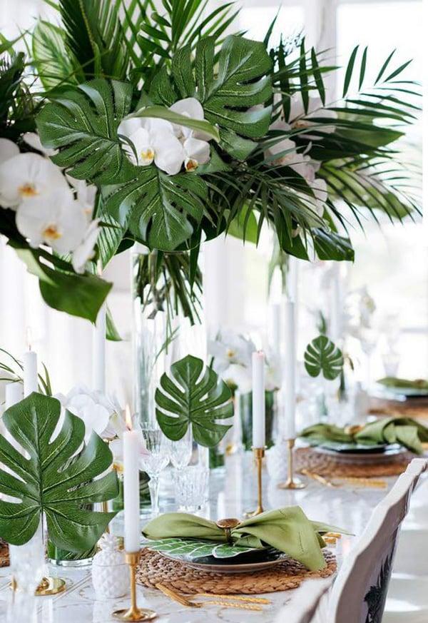 עלים טרופיים מלאכותיים לעיצוב שולחן
