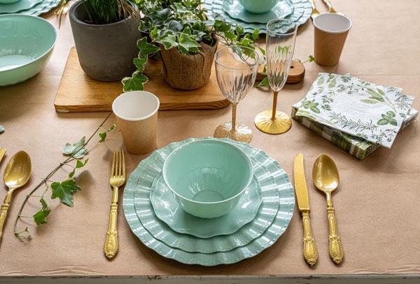 סט כלים חד פעמיים מיאמי מנטה - עיצוב שולחן