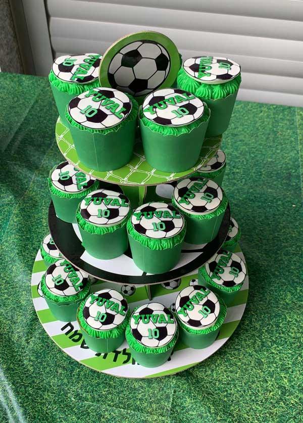 יום הולדת כדורגל - קאפקייקס כדורגל