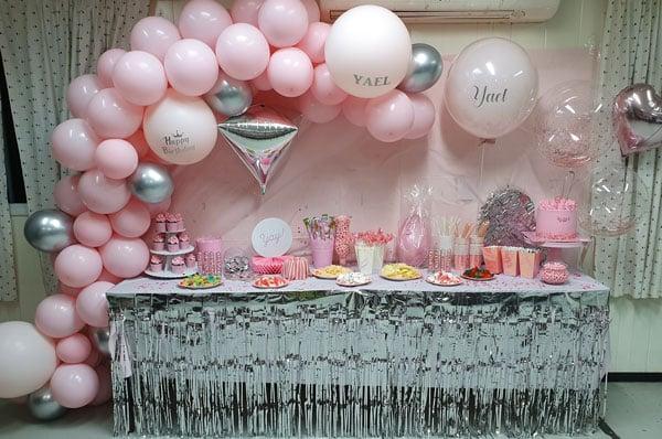 מסיבה ורודה כסופה עיצוב שולחן