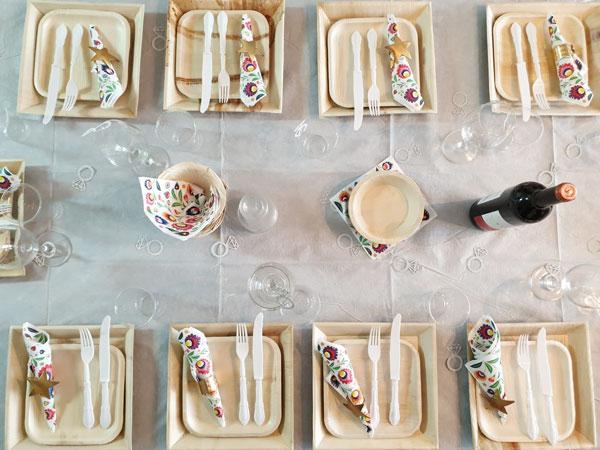 יום נישואין - כלים חד פעמיים מתכלים