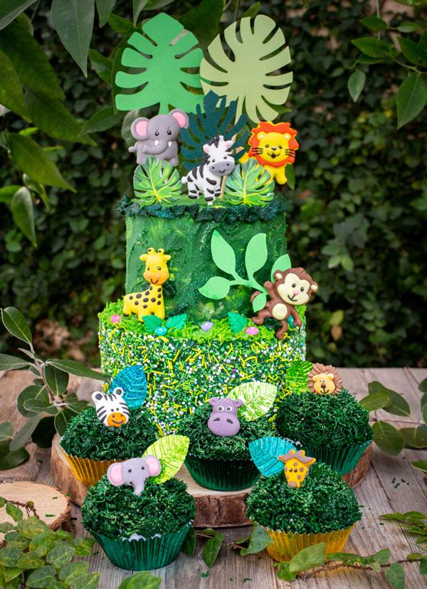 10 מוצרים לעיצוב מסיבת ספארי - סט קישוט לעוגה חיות ג'ונגל
