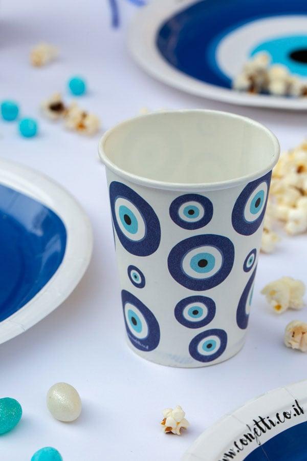 מסיבה יוונית עין כחולה - כוסות נייר