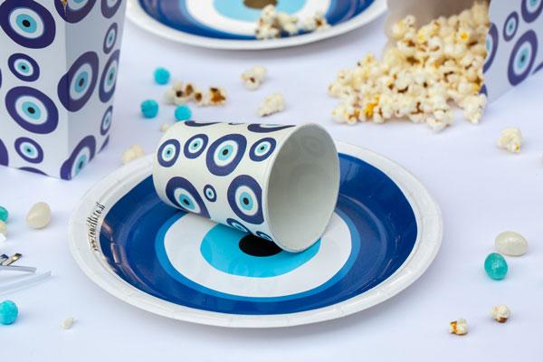מסיבה יוונית עין כחולה - צלחות וכוסות