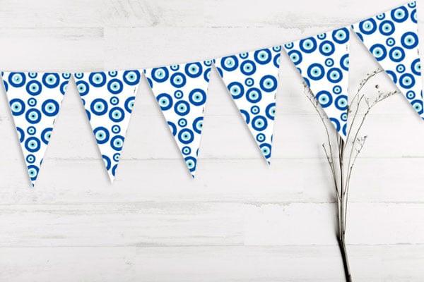 מסיבה יוונית עין כחולה - שרשרת דגלים