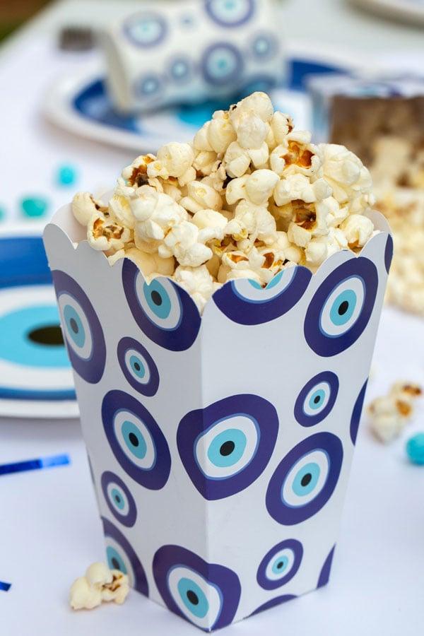 מסיבה יוונית עין כחולה - קופסאות פופקורן