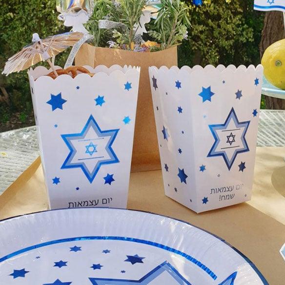 טיפים ורעיונות לפיקניק ישראלי ביום העצמאות - קופסאות פופקורן דגל ישראל